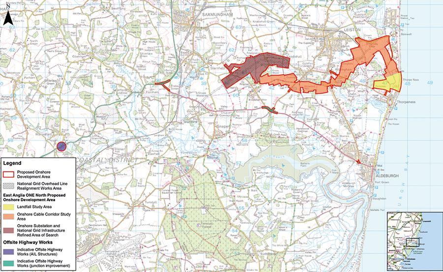 Map of East Anglia TWO onshore development