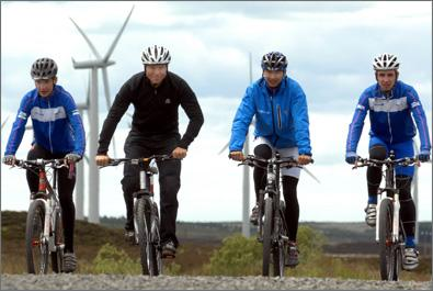 Chris Hoy leads Scottish Cycling's 'Go Ride' team who were promoting safe cycling at the Black Law windfarm open day.