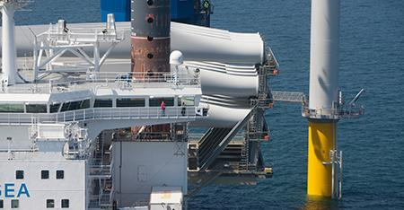 Offshore turbine close-up view