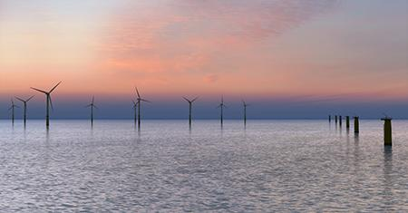 Offshore windfarm at dusk